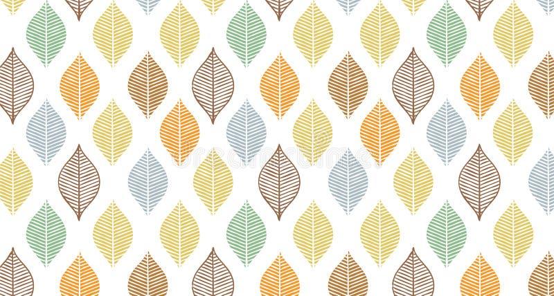 Het leuke vectorpatroon van het de herfstblad Abstracte bannerdruk met bladeren Elegant mooi aardornament voor stof stock illustratie