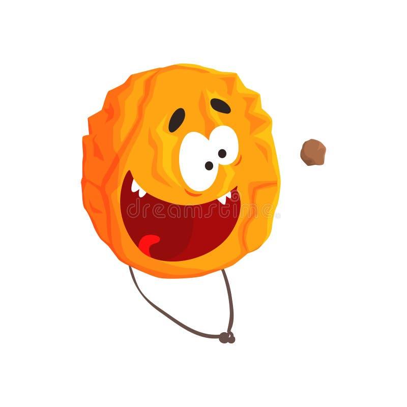 Het leuke vermenselijkte karakter van de Venusplaneet, oranje gebied met de grappige vectorillustratie van het gezichtsbeeldverha stock illustratie