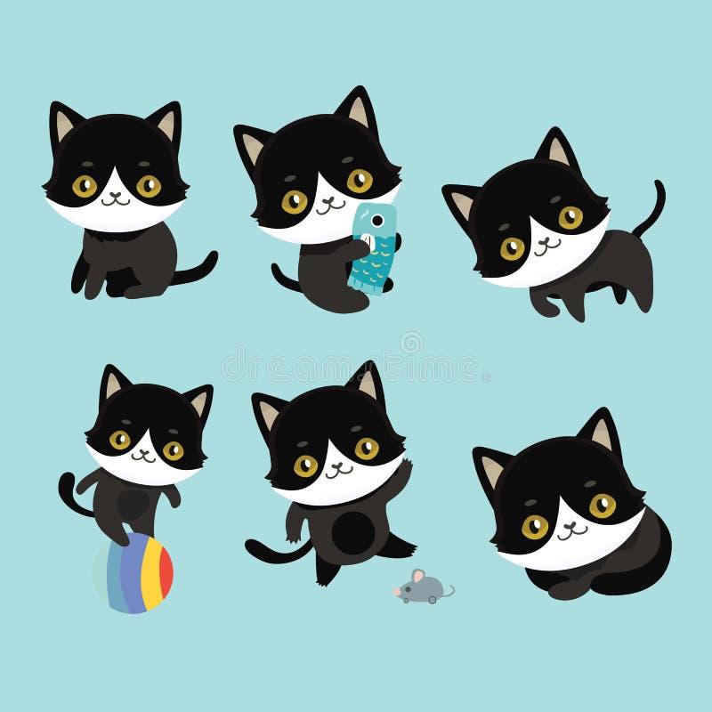 Het leuke verschillende kattenkarakter stelt vector illustratie
