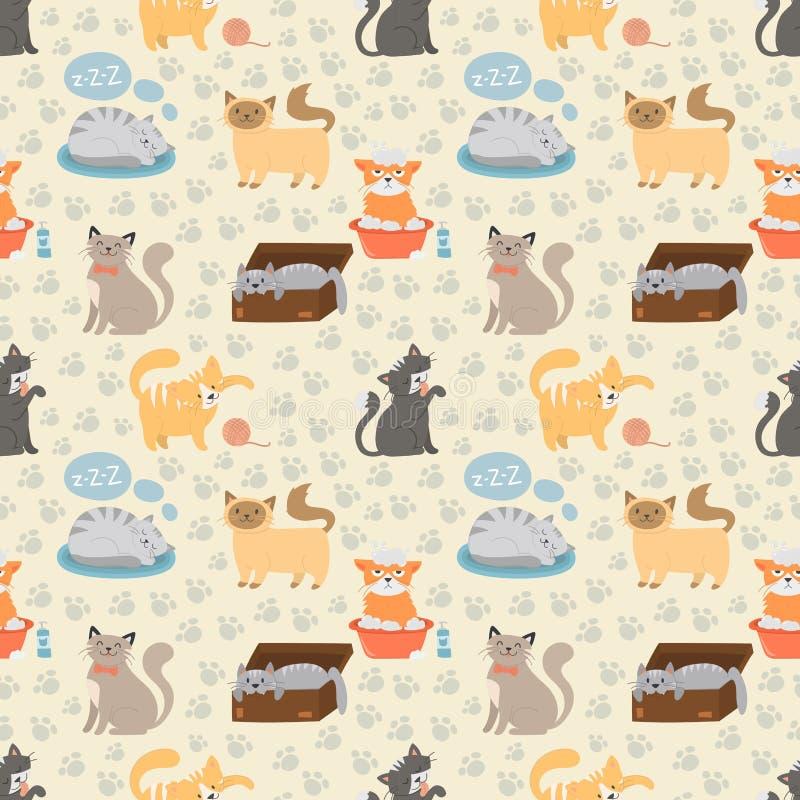 Het leuke verschillende kattenkarakter stelt vector naadloos patroon vector illustratie