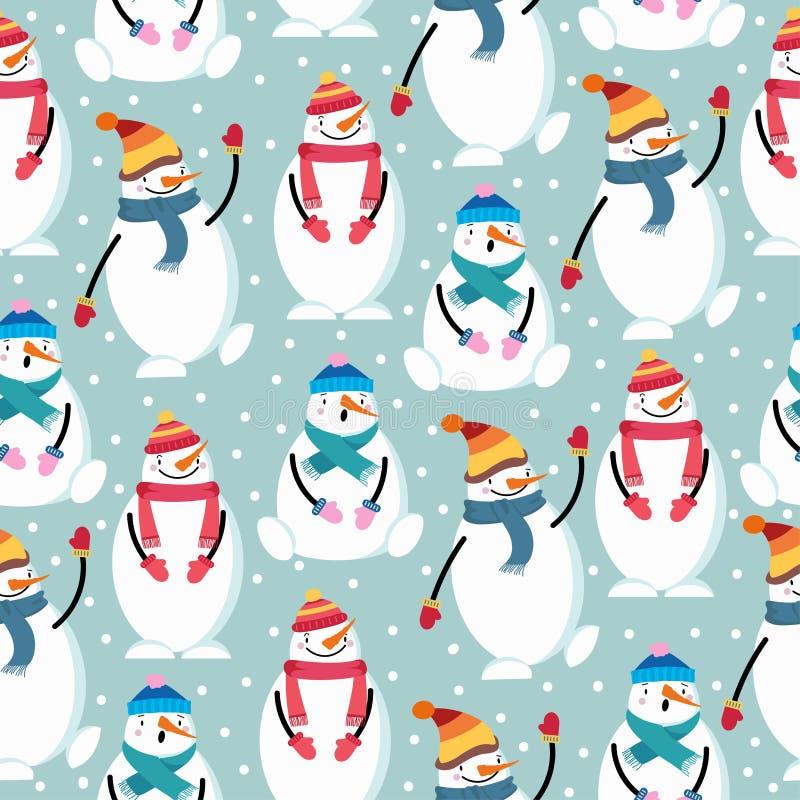 Het leuke vlakke naadloze patroon van ontwerpkerstmis met sneeuwman vector illustratie