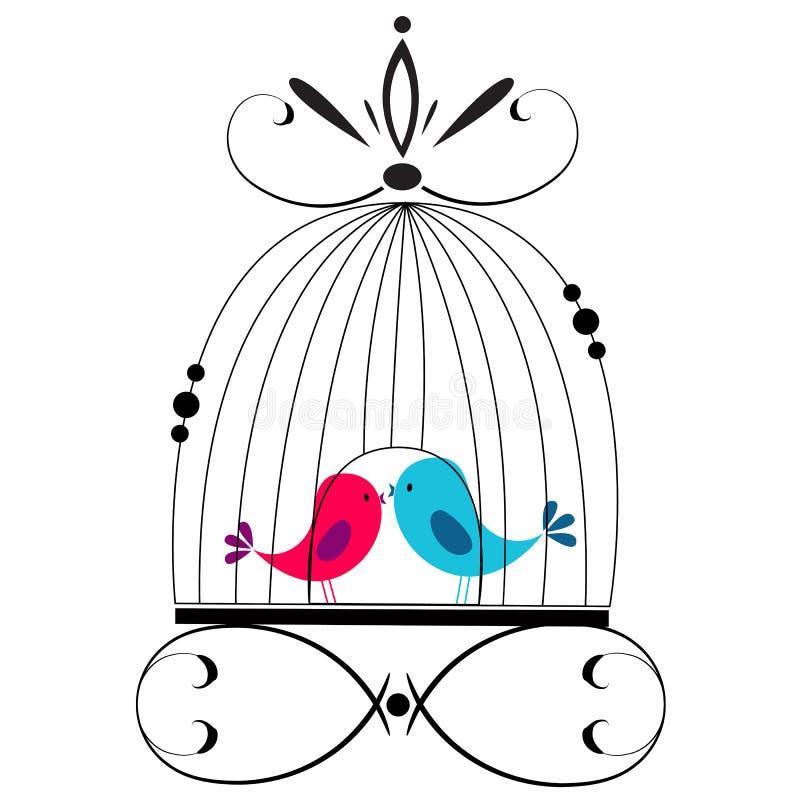Het leuke vogels kussen royalty-vrije illustratie