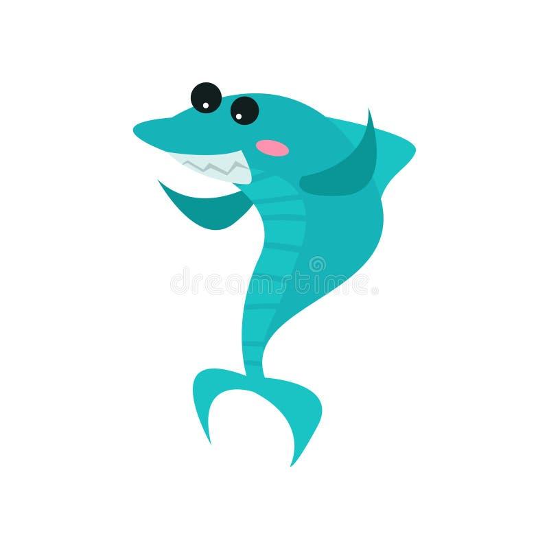Het leuke vrolijke karakter van het haaibeeldverhaal, grappige blauwe vissen vectorillustratie vector illustratie