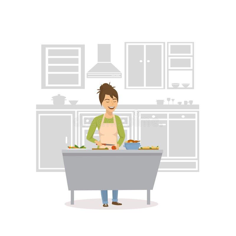 Het leuke vrolijke vrouw koken in de keuken, die voedsel voorbereiden vector illustratie
