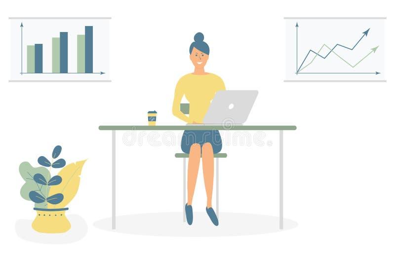 Het leuke vrouwen freelancer werk door computer bij de lijst Succesvol vrouwelijk karakter Jonge Kalme Freelance Arbeider met Lap vector illustratie