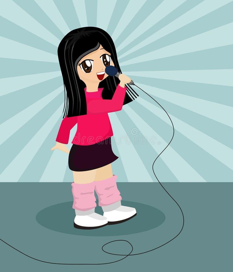 Het leuke Zingen van het Meisje van het Beeldverhaal vector illustratie