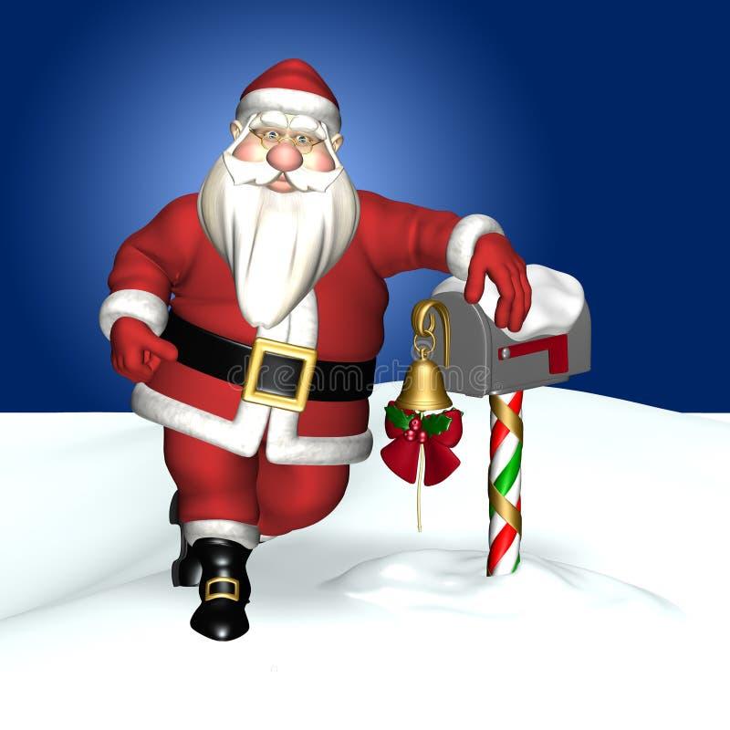 Het Leunen van de kerstman en een Brievenbus vector illustratie