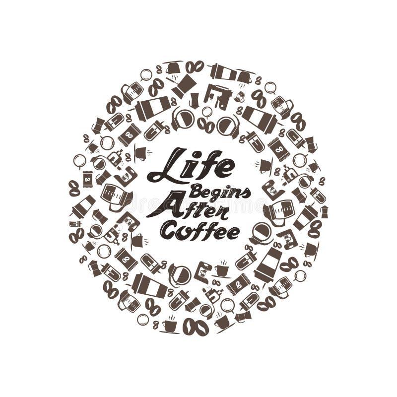 Het leven begint na coffetypografie met veelvoudige koffiepictogrammen stock foto's