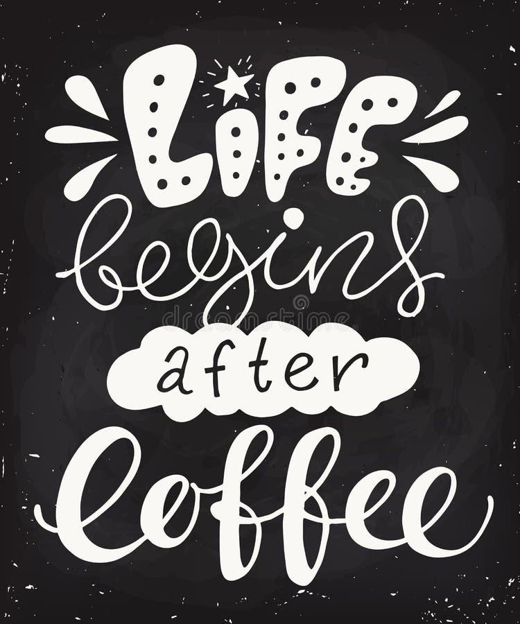 Het leven begint na het ontwerp van het koffiebord Bordaffiche royalty-vrije illustratie