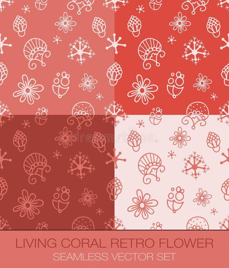 Het leven Coral Retro Flower Seamless Pattern Vectorreeks royalty-vrije stock foto's