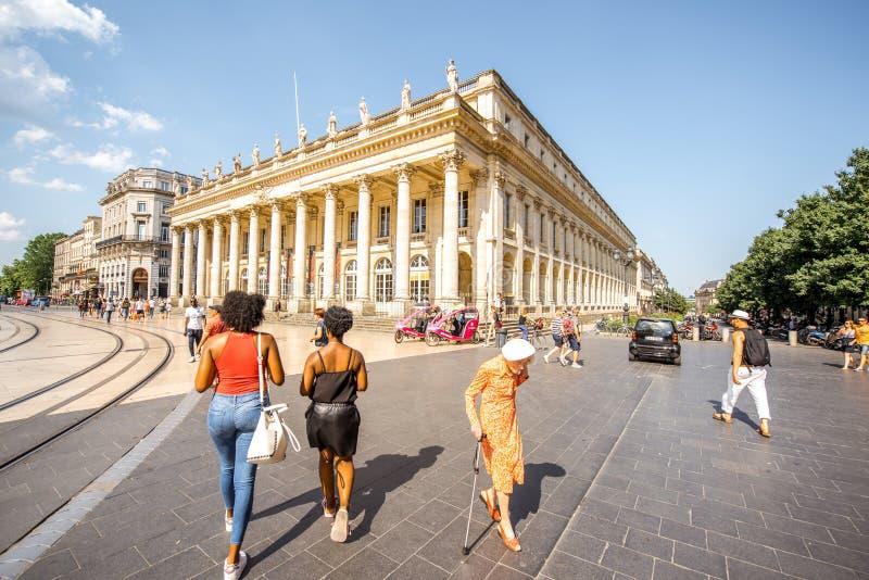 Het leven in de stad van Bordeaux stock afbeelding