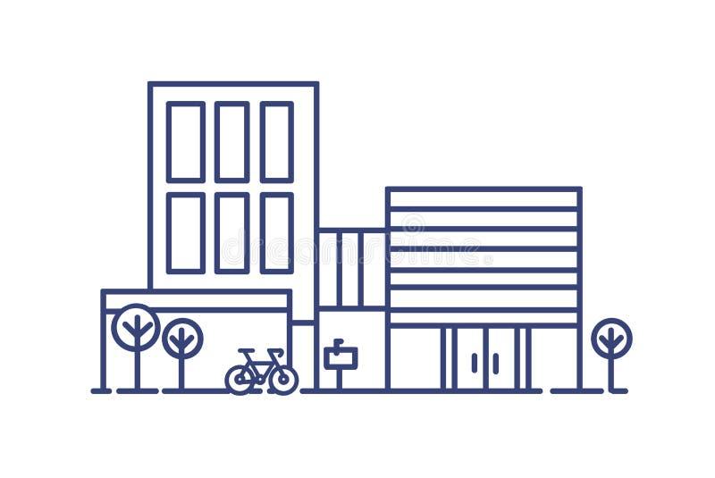 Het leven de stadsbouw in eigentijdse architecturale die stijl door bomen en fiets wordt omringd naast het worden geparkeerd mode vector illustratie