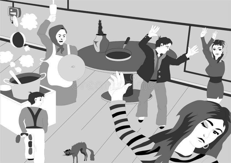 Het leven in een herberg in Rusland royalty-vrije illustratie