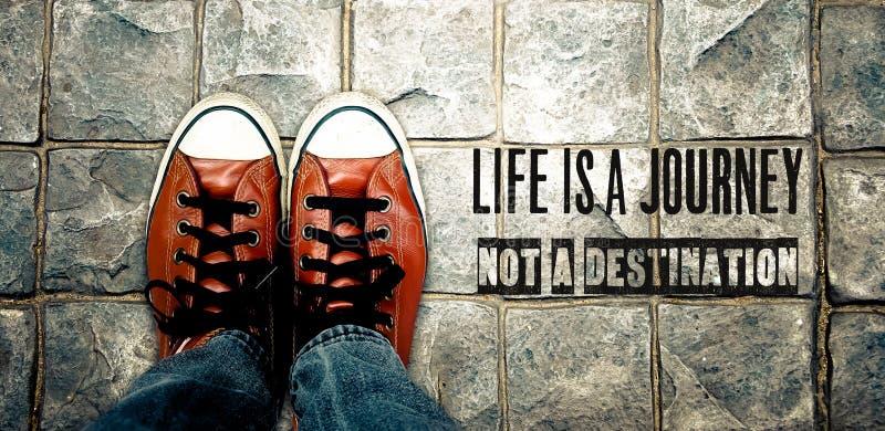 Het leven is een reis niet een bestemming, citaat stock afbeelding
