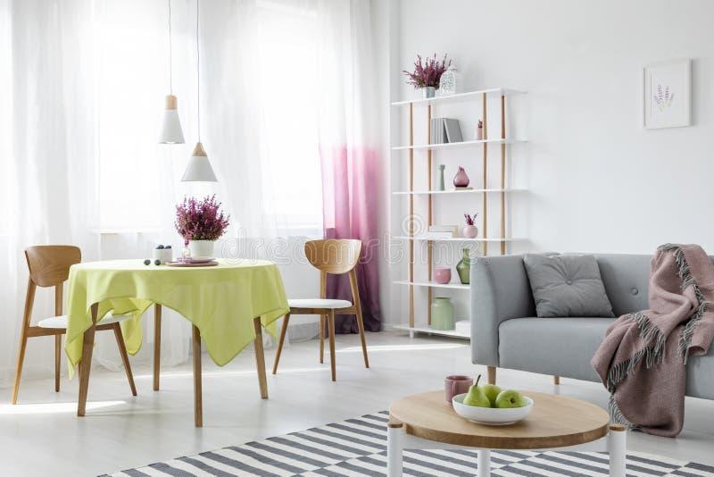 Het leven en eetkamer in flat met grijze laag en houten meubilair, echte foto royalty-vrije stock afbeelding