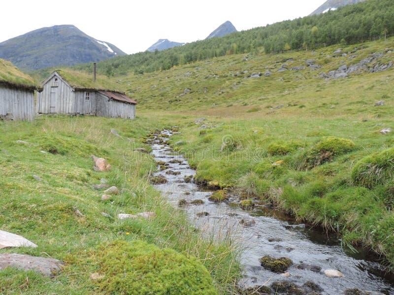 Het leven in Geiranger, Noorwegen stock foto