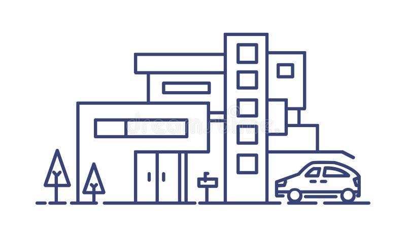Het leven huis bouwde eigentijdse architecturale die stijl en auto in naast het wordt geparkeerd getrokken met blauwe lijnen op w stock illustratie