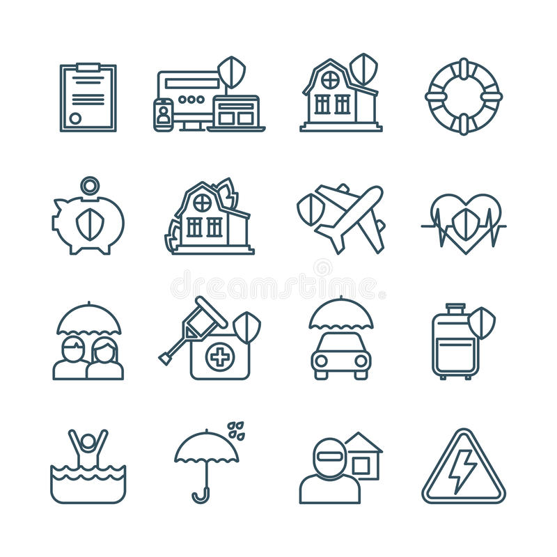 Het leven, huis en auto vectorpictogrammen van de verzekerings de dunne lijn vector illustratie