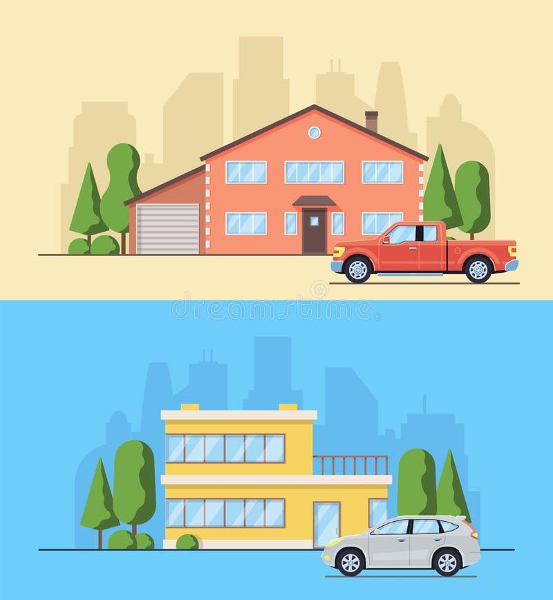 Het leven huis met bomen en struiken Plattelandshuisje met auto in de vlakke stijl vector illustratie