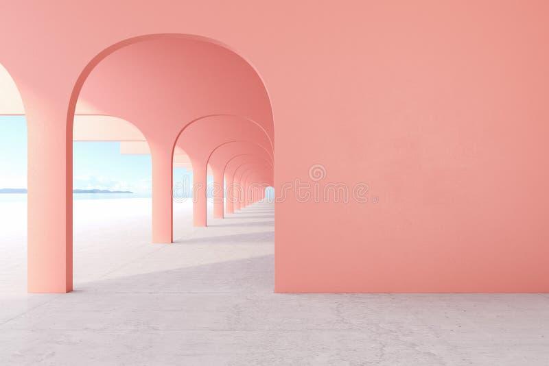 Het leven koraal, roze kleuren architecturale gang met lege muur, concrete vloer, horizonlijn royalty-vrije stock foto