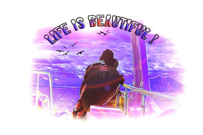 Het leven is mooi, een beeld van een boot stock illustratie