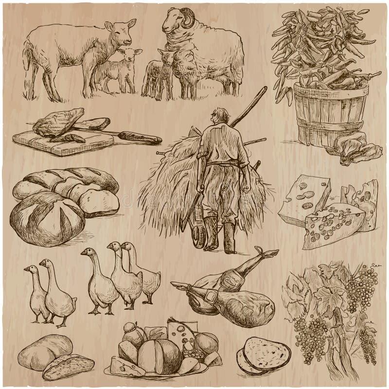 Het leven op het landbouwbedrijf farming Hand getrokken vectorpak royalty-vrije illustratie