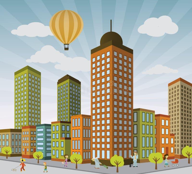 Het Leven van de stad in Perspectief stock illustratie