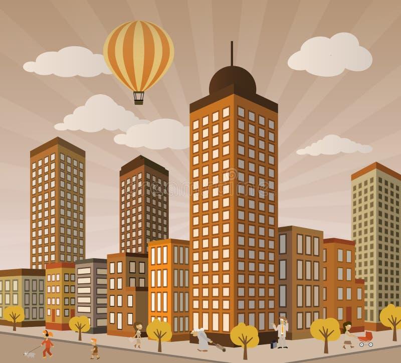 Het Leven van de stad in Perspectief royalty-vrije illustratie