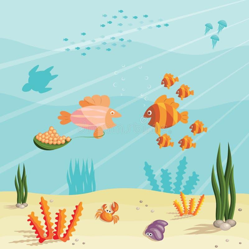 Het leven van kleine vissen stock illustratie