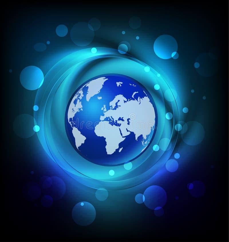 Het levendige blauwe embleem van de wereldbol vector illustratie