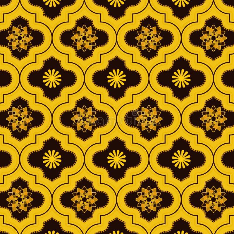 Het levendige Goud verfraaide Marokkaans naadloos patroon met leuke bloemenontwerpen royalty-vrije stock afbeelding