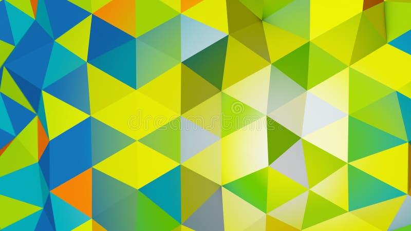 Het levendige kleuren veelhoekige chaotische vorm abstracte 3D teruggeven stock illustratie