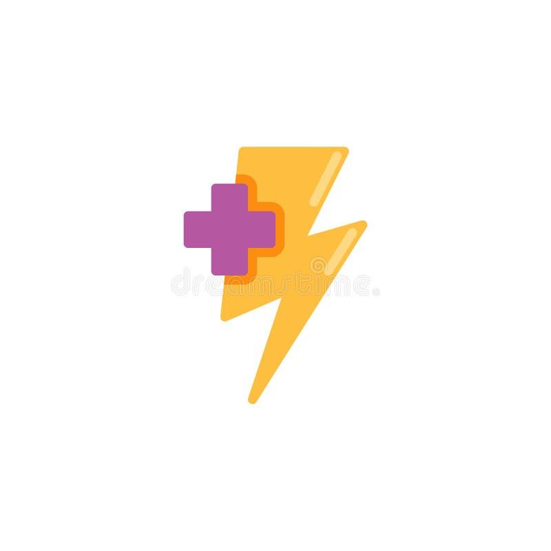 Het levensenergie plus vlak pictogram royalty-vrije illustratie
