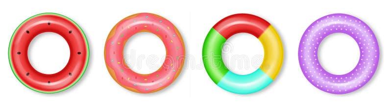 Het levensringen geplaatst realistische inzamelingsvector 3d gedetailleerde water blies kleurrijke geplaatste ringen op royalty-vrije illustratie