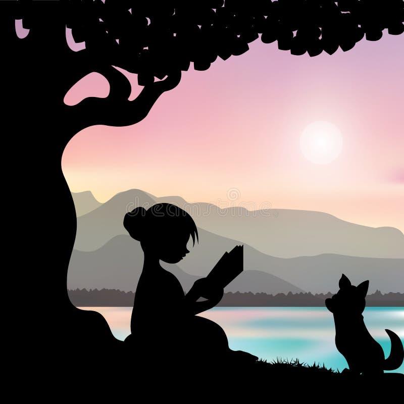 Het lezen van een boek onder een boom, Vectorillustraties royalty-vrije illustratie