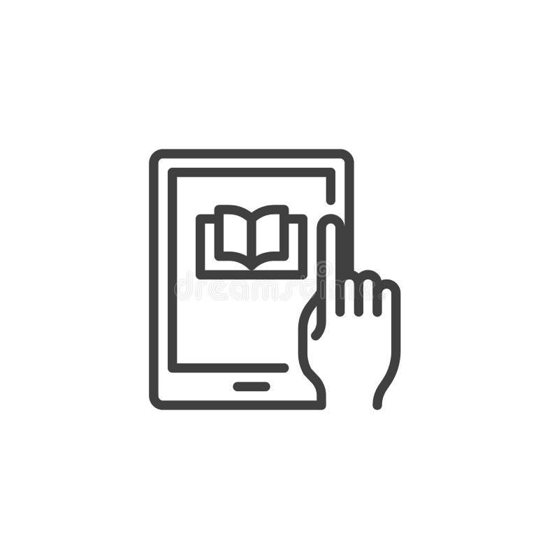 Het lezen van een e-book op digitaal de lijnpictogram van het tabletapparaat royalty-vrije illustratie