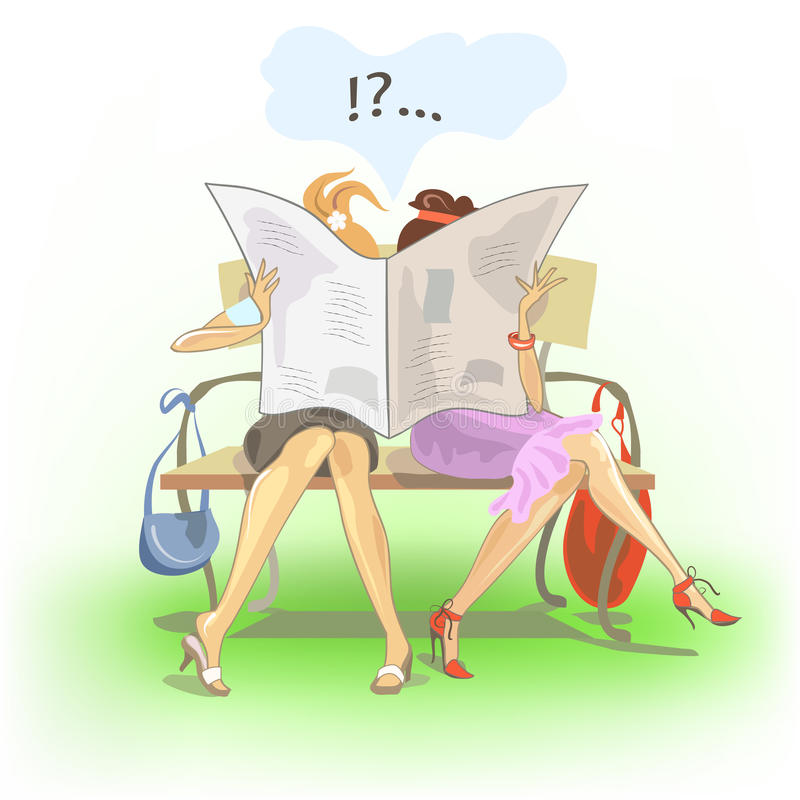 Het lezen van meisjes stock illustratie