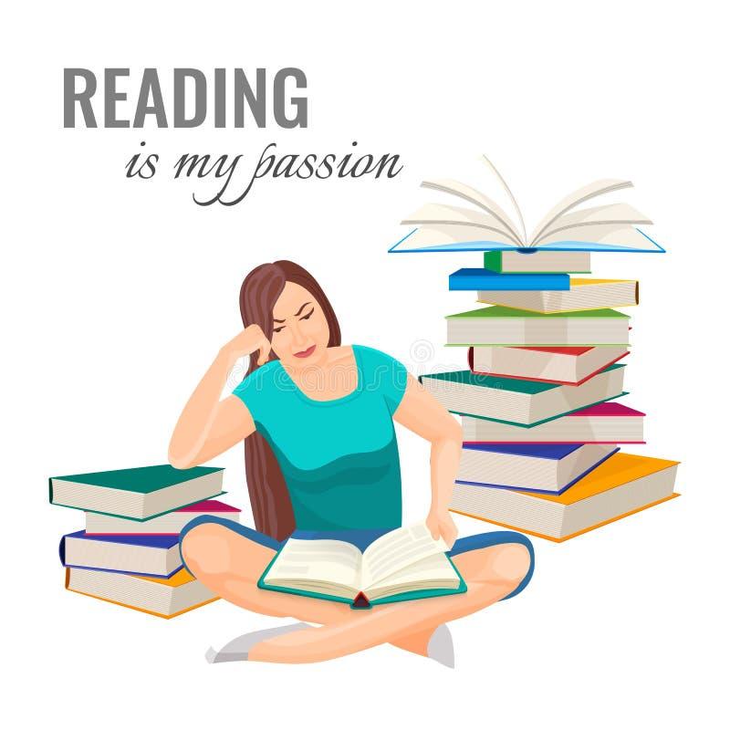 Het lezen van mijn hartstochtsaffiche met vrouw onder boekstapels vector illustratie