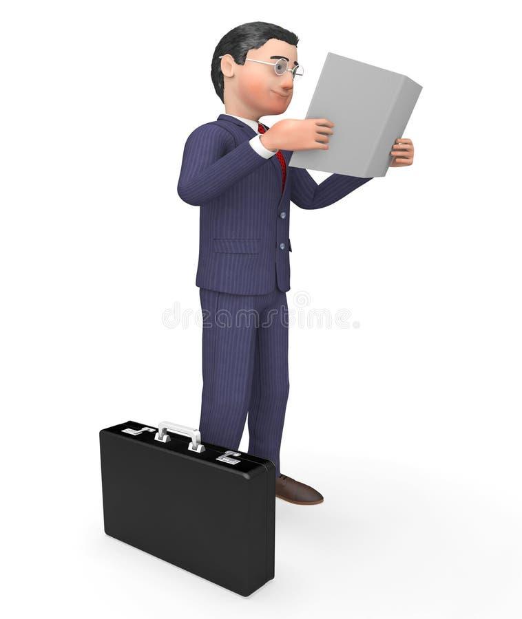 Het lezingsrapport wijst 3d Teruggeven op het Bedrijfs van Person And Books stock illustratie