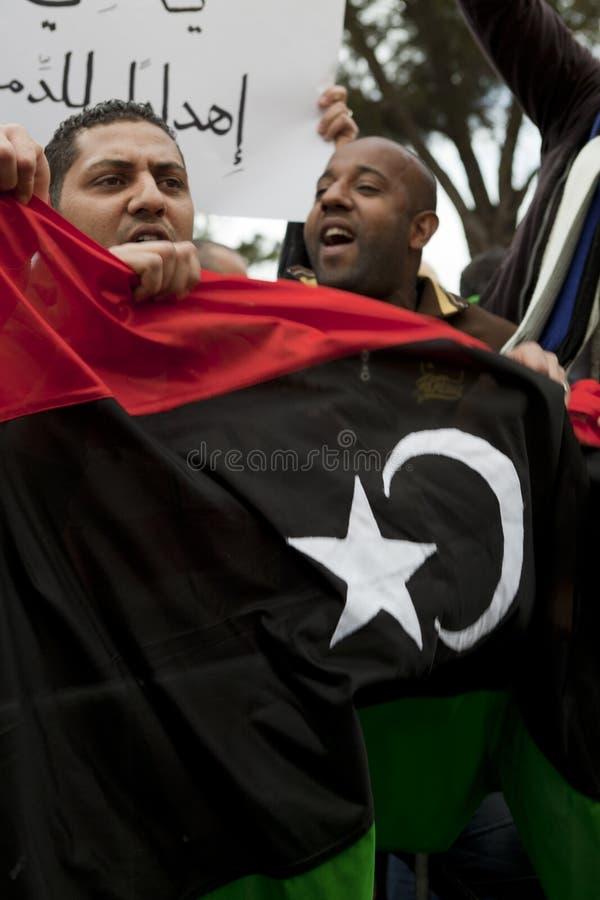 Het Libische Protest van de Ambassade royalty-vrije stock fotografie