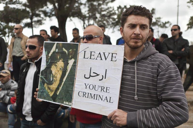 Het Libische Protest van de Ambassade stock foto