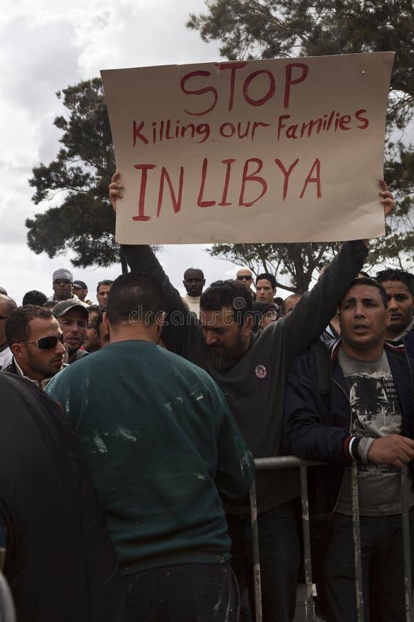 Het Libische Protest van de Ambassade royalty-vrije stock afbeeldingen