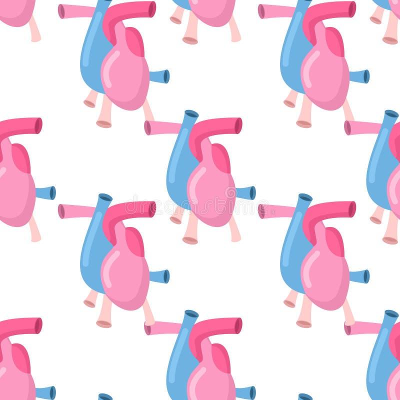 Het lichaams naadloos patroon van de hartanatomie Atrial en ventriculaire patt vector illustratie