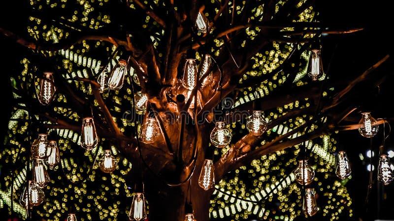 Het licht blub verfraait op boom stock afbeelding