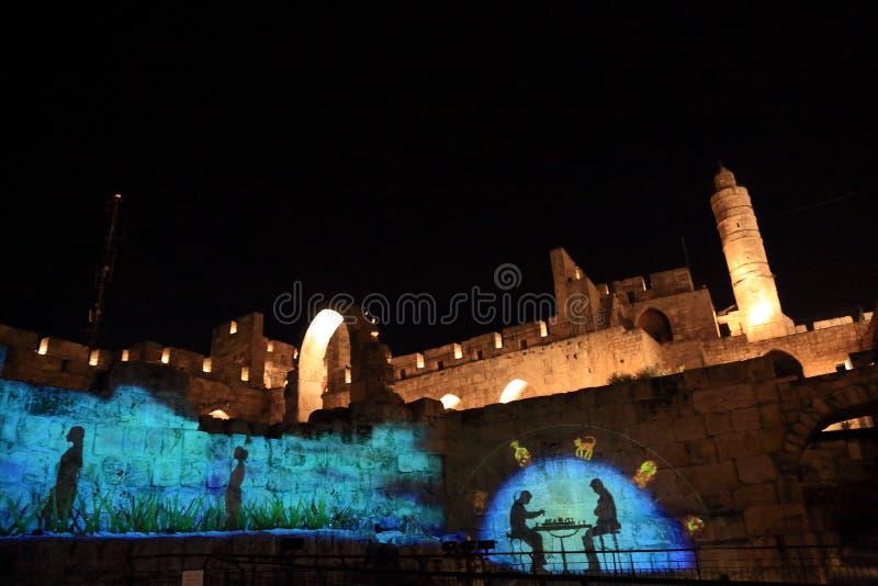 Het Licht toont bij de Toren van David stock afbeeldingen