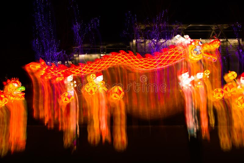 Het licht toont op Chinees Lantaarnfestival stock fotografie
