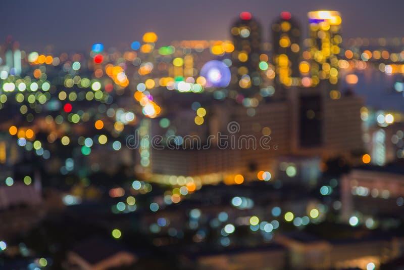 Het licht van de de stadsnacht van Bangkok bokeh stock foto