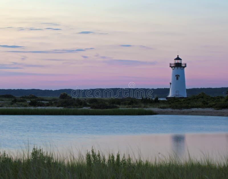 Het licht van de Edgartownhaven stock afbeeldingen