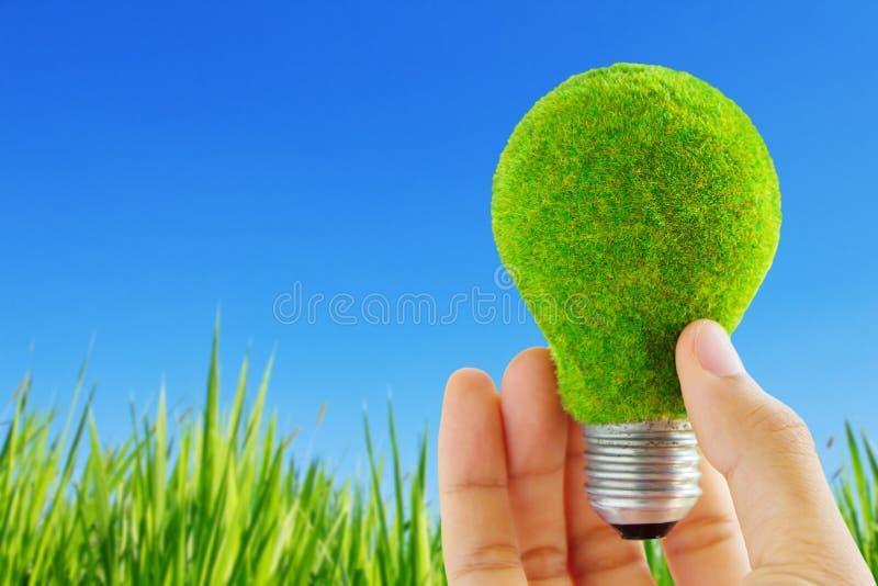 Het licht van Eco blub ter beschikking royalty-vrije stock afbeeldingen