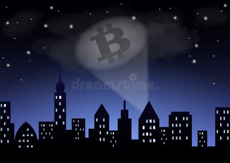 Het licht van het zoeklicht toont de crypto-Munt bitcoin over de nachtstad stock illustratie